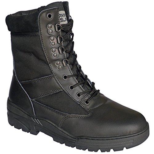 0d30a4ec23284c Stivali in pelle nera da combattimento ed esercito tattici per ...